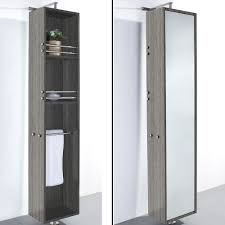 White Bathroom Mirror by April Rotating Floor Linen Cabinet Gray Oak Finish With Mirror