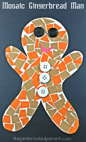 construction paper mosaic gingerbread man winter and christmas