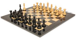 fierce knight staunton chess set in ebony u0026 boxwood with black