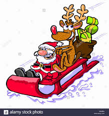 cartoon caricature santa claus with rudolph the red nose reindeer