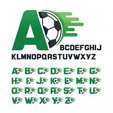 english alphabet set with football graphics and movement line