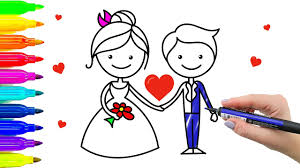 how to draw bride and groom wedding coloring pages for kids with