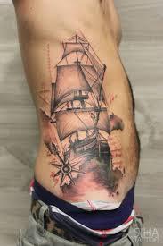rib cage sailboat tattoo by tayri rodriguez
