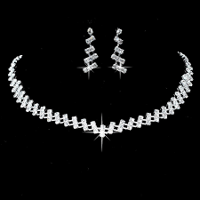 bridesmaid jewellery cafa silver earrings necklace set new wedding bridal