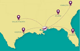 United International Route Map by Gulfport Biloxi International Airport Route Map