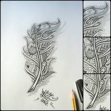 tribal feather tattoo design by blaze by blazeovsky on deviantart