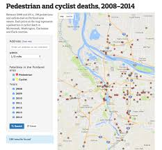 Portland Zip Codes Map by Pedestrian And Cyclist Deaths 2008 2014