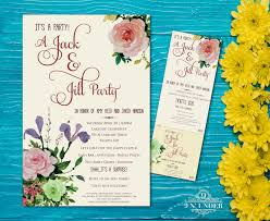 floral jack and jill pre wedding party ticket and poster card