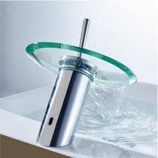 glass waterfall bathroom kitchen sink round waterfall faucet brass