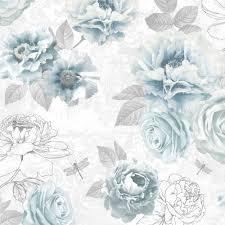 B Q Bedroom Wallpaper Graham U0026 Brown Fresco Blue Floral Wallpaper Departments Diy At