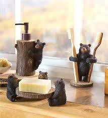 Bear Bathroom Accessories by Resin Bear Bathroom Set Toothbrush Holder Soap Dispenser And