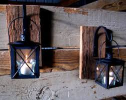 Wrought Iron Home Decor Black Lantern Pair 2 With Wrought Iron Hooks On Recycled