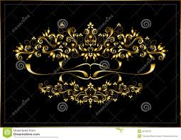 gold frame from calligraphic ornaments and ribbons on a black