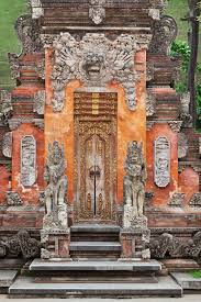 gate of temple with ornaments indonesia bali royalty free stock