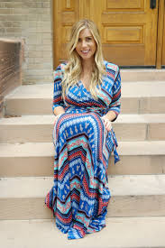 Maternity Drape Dress Aztec Wrap Maxi Nursing Dress