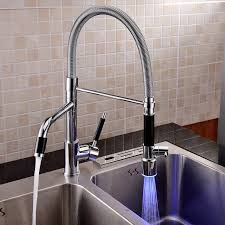 Led Kitchen Faucet by Deck Mount Centerset Contemporary Chrome Finish Led Rotatable Tall