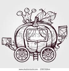 pumpkin carriage cinderella outline sketch stock vector 378735844