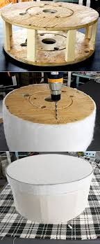 How To Make An Ottoman Out Of A Coffee Table Creative Re Usage Part 1 Cable Spool Ottomans Core77