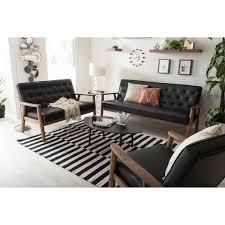 Faux Leather Living Room Set Baxton Studio Sorrento Mid Century Retro Modern Black Faux Leather