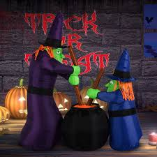 homcom 5 5 u0027 halloween witches with cauldron led lighted outdoor