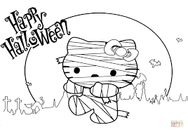 kitty halloween mummy coloring free printable