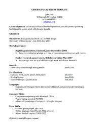 chronological resume exle chronological resume for canada joblers shalomhouse us