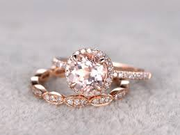 2 morganite bridal set engagement ring rose gold diamond wedding
