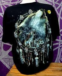 print dreamcatcher howling wolf dreamcatcher wolf t shirt