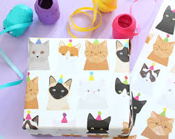 cat christmas wrapping paper cat christmas paper etsy