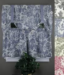 Toile Cafe Curtains Park Tie Up Valance And Tier Pair Blue Toile By Ellis