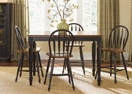 country gathering table 5 piece set in anchor black with suntan