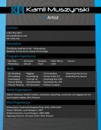 Example Artist Resume 100 Sample Artist Resume Vfx Resume Samples Writing An
