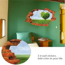 online get cheap tree wall murals aliexpress com alibaba group blue sky and white clouds love tree wall effect individuality creative 3 d broken wall mural