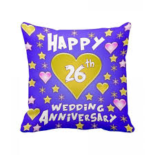 26th wedding anniversary 26th wedding anniversary gift printed cushion with filler