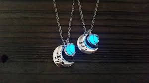 glow in the necklaces to the moon and back best friend necklaces glowing i you to