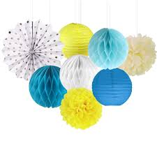 white paper fans 8 blue yellow white paper decoration set paper lantern paper