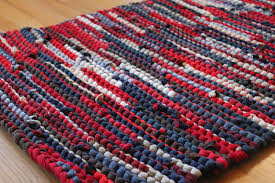 Red Blue Rug Americana Rag Rug Upcycled T Shirts Nautical Red Navy Blue