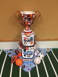baby shower diaper cake w trophy all stars football