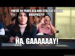 Gaaaaaay Meme - you re 28 years old and still eat cocoa krispies ha gaaaaaay