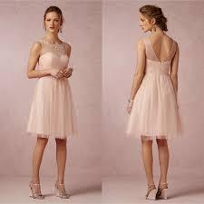 blush junior bridesmaid dresses 2017 blush illusion crew neck bridesmaid dresses