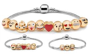 white gold bracelet with charm images 78 off on emoji charm bracelet groupon goods jpg