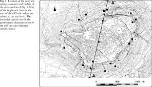 location of the analysed springs squares and outline of the
