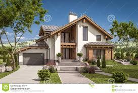 3d rendering modern house at night stock illustration image