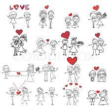 hand drawing cartoon happy couple wedding stock vector colourbox