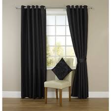 wilko faux silk eyelet curtains black 167 x 137cm at wilko com