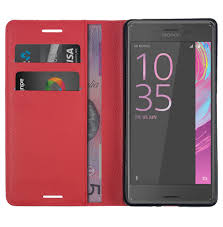leather wallet case for sony xperia x performance red