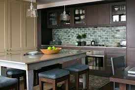 Brown Subway Travertine Backsplash Brown Cabinet by Beautiful Kitchen Backsplashes Traditional Home