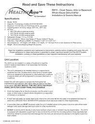 generalaire dh70 dehumidifier user manual 8 pages