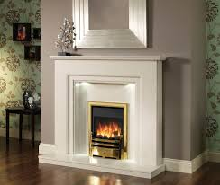 electric fireplace with white marble fireplace surround also brown