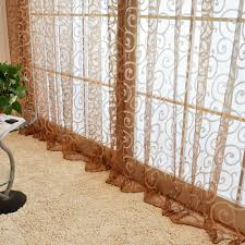 hook flocking pattern voile french window curtain for door sales